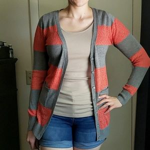 Poof! Gray & Coral Cardigan